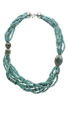 Multi-Strand Necklace with Turquoise Gemstone Beads, Porcelain Beads and Sterling Silver Beads