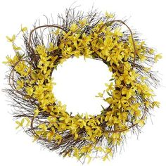 Who says wreaths are only for Christmas? Add a bit of cheer to your home any season with our large, handcrafted grapevine wreath that's been brightened by vibrant yellow sprays of faux forsythia. Exclusively Pier 1 Imports.
