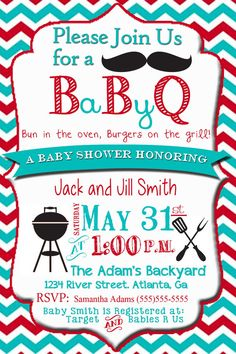 Couples Baby Shower Invitation, Baby BBQ Shower, Bun in the Oven, Cookout Invitation, Blue & Red Chevron