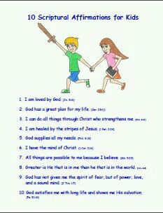 10 Scriptural Affirmations For Kids Thumbnail Find This Pin And
