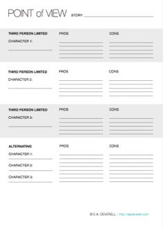 Creative Writing Worksheet - Points of View