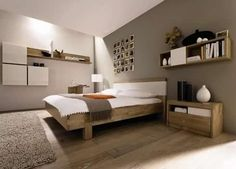 Oak bedroom with neutral and white accents - LOVE this!