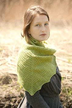 Stoneleaf Shawl cable and garter-ridge triangular shawl knitting pattern by Leila Raabe - Available at LoveKnitting