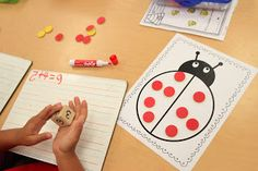 Ladybug Addition... Use a simple ladybug work mat and the kids had to roll a die two times to see how many dots to place on each half of the ladybug. They recorded the number sentences on their white boards. Freebie Ladybug Work Mat. Mrs. Ricca's Kindergarten