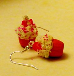 Strawberry Sweets Cupcake Earrings  food jewelry by Nanhouse, $5.00