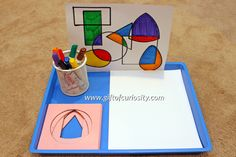 Use with metal inserts ~~ Trace the shapes art and fine motor activity Montessori Classroom, Montessori Materials, Montessori Activities, Preschool Activities, Montessori Elementary, Fine Motor Activities For Kids, Math Art, Shape Art, Preschool Art