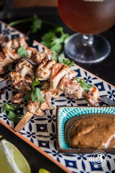 Beer Chicken Satay with Almond Stout Dipping Sauce - The Beeroness Beer Recipes, Grilling Recipes, Chicken Recipes, Beer Chicken, Chicken Satay, Cooking With Beer, Appetizer Recipes, Appetizers, Quick Easy Meals