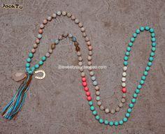 Jtjacktu muliti beads mixed rose quarts pendant long layered tassel necklaces