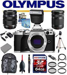 Olympus E-M5 Mark II W/ Olympus FL-LM3 Flash, Olympus ED 12-40mm f/2.8 Pro Lens, Olympus ED 40-150mm f/4.0-5.6 R, 64GB Deluxe Kit OMD EM5 OMDEM5 O-MD EM-5 OM-D MII M2 (Silver)