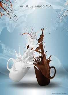 Milk vs. chocolate http://bl-visign.de/blog-aktuelles/178-passion-photoshop-composing Coffee Dessert, Coffee Drinks, Coffee Cups, Coffee Shop Bar, Milk Tea, Bar Grill, Coffee Girl, Menu Restaurant, Coffee Images