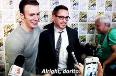 """""""He has the shoulder to waist ratio of a Dorito.""""  I'm so glad RDJ knows about that."""
