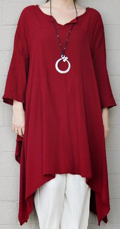 The light-to-midweight cotton gauze fabric is soft and crinkled, with a wonderful airy drape and feel . This is a lovely OMG piece in a lovely color and style for 3-to-4-season wear.