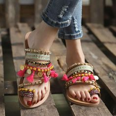 We've got you covered with our one designer piece of variety of the final word in feisty heeled flip flops. Boho Sandals, Sandals Outfit, Sport Sandals, Fashion Sandals, Beach Sandals, Flat Sandals, Wedge Shoes, Women Sandals, Shoes Women