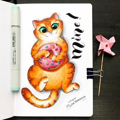 Cats and donuts! These are a few of my favorite things. Amazing Drawings, Cool Drawings, Amazing Art, Cat Drawing, Painting & Drawing, Goodnotes 4, Sketch Inspiration, Marker Art, Copics