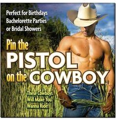 Choose your favorite hunky cowboy in this Pin the Pistol on the Cowboy Game! Perfect for the Country Western bachelorette party, or for any bride who loves a man who can work with his hands!