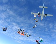Sky diving.