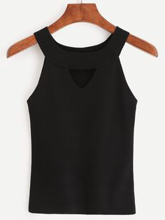 Black Ribbed Neck Cutout Knitted Top.