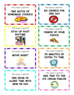 Printable kid coupons to use as stocking stuffers, rewards or small gifts for your kids. Easy, inexpensive gift idea for children. Chore Rewards, Behavior Rewards, Kids Rewards, Kids Behavior, Reward Coupons, Chore List, Preschool Behavior, Classroom Rewards, Reward Stickers
