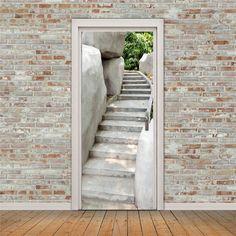 Wallpaper Door, 3d Wallpaper Living Room, Scenery Wallpaper, Garden Mural, Door Images, Stone Stairs, Door Murals, Decoupage Furniture, Door Stickers