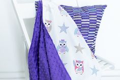 Kids minky blanket hand made by Kinderly - Colby minky blanket - Owl pattern