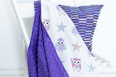 Kids minky blanket hand made by Kinderly - Colby minky blanket - Owl pattern