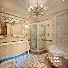 Luxury bathroom interior combines Art Deco motifs and modern classics. Dubai Interior designers have created an image that gives an aesthetic and sensual pleasure Luxury Homes Dream Houses, Classic Bathroom, Bathroom Design Luxury, Dream Bathrooms, Luxury Home Decor, Architecture, Bathroom Sinks, Floor Sink, Tyga