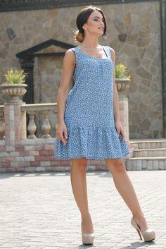 """Платье """"Джесс-Джинс"""" принт цветы - Платья - Магазин женской одежды «Ри Мари»"""