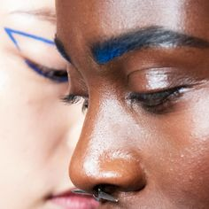 Brows accentuated with Chromagraphic Pencil in Marine Ultra and Hi-Def Cyan at the Chromat New York Fashion Week SS17 show.