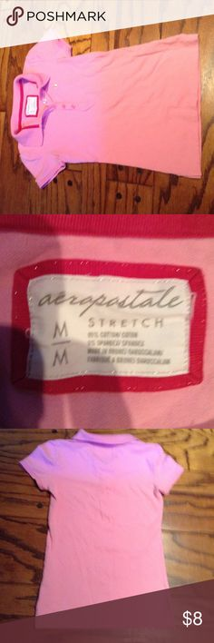 """Pink """"Aeropostale"""" Stretch shirt! A polo shirt from Aeropostale! It's adorable for summer time and has five buttons down the front, No stains No rips and Hardly ever worn! Aeropostale Tops Tees - Short Sleeve"""