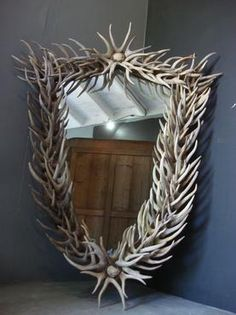 Shield Shape Natural Antler Mirror All East Texas, Hand-Made Antler Products Begin with Hand Selected Shed Antlers (no deer are killed) Custom Sizes Available