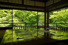Rurikoin temple in tender green, Kyoto  beautiful in autumn with red leaves in the garden but it's also nice in spring.