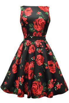 Red & Green Rose Floral Tea Dress : Lady Vintage