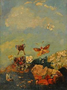 "Odilon Redon, ""Papillons,"" 1910.  Art Experience NYC  www.artexperiencenyc.com/social_login/?utm_source=pinterest_medium=pins_content=pinterest_pins_campaign=pinterest_initial"