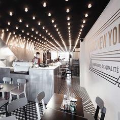 Paris New-York restaurant by CUT Architectures.     Måske lige i overkanten - men der er nogle cool elementer.