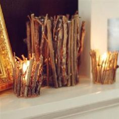 Rustic Twig Candle Holder {Candle Holder} I did this and it is so pretty also add cinnamon sticks-makes you house smell wonderful