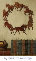 "(LZCH20WHP) 20"" ""Circle of Horses"" Western Metal Art - WESTERN WALL ART"
