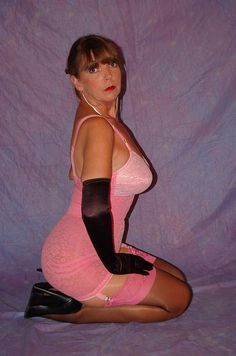 Vintage Pink All In One Open Bottom Girdle Stocking High Heels and Black Satin Gloves
