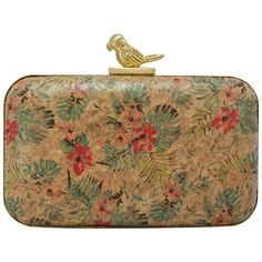 La Regale Tropical Floral Minaudiere With Parrot Closure (382476501) ($85) ❤ liked on Polyvore featuring bags, handbags, clutches, tropical, cork purse, cork handbags, hand bags, la regale handbags and brown purse
