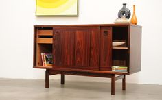 ebay | 1960s Danish Modern ROSEWOOD & Teak Compact Sideboard Credenza Mid Century Eames