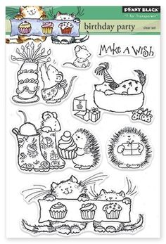 Penny Black Birthday Party - Clear Stamp. Penny Black clear stamps featuring a birthday cake, cupcakes, a dog, a cat, mice, and hedgehogs.