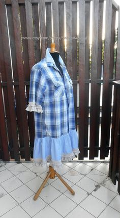 Funky Patchwork Style Romantic Ruffles One-Of-A-Kind Eco-Friendly Handmade Clothing for Women UpCycled Babydoll Tunic Dress Shirt Dresses Altered Couture, Romantic Outfit, Gypsy Style, Summer Outfits, Summer Clothes, Handmade Clothes, Ladies Dress Design, Sewing Clothes, Refashion