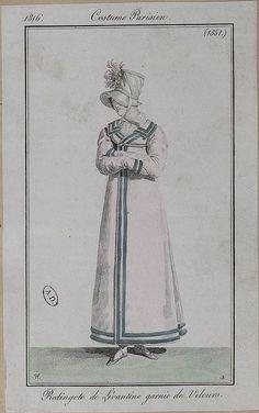 1816 Costumes Parisien. Redingote of Levantine (heavy twilled silk) trimmed with velvet.