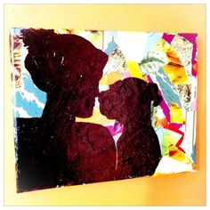 Mod podge silhouette on canvas. I love this!