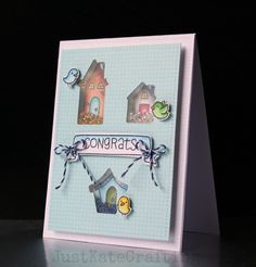 Lawn Fawn - Home Sweet Home + coordinating dies, Stitched Rectangle Stackables, Blue Jay Lawn Trimmings _ super clever shaker card by Kate via Flickr - Photo Sharing!