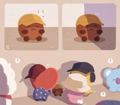 🎩Under Hat Discussion👒 Shooky Cooky Tata Chimmy Confused Koya, RJ, Mang❓❓ Bts Photo, Foto Bts, Bts Gifs, Loli Kawaii, Mini Comic, Fanarts Anime, Bts Drawings, Line Friends, Bts Chibi