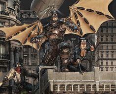 Steampunk Batman by =R-Tan on deviantart. Because he's the goddamn Batman!