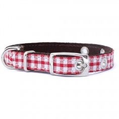 Halsband Red Gingham mit Vichy Muster. Dog collar with leather lining.