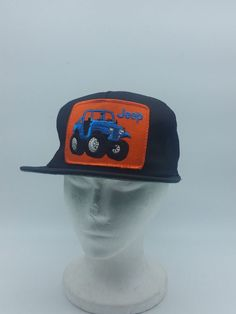 526deaf0923 Vintage 80s USA BIG PATCH LOGO JEEP 4x4 Off Road Mesh Snapback Hat Snap A  Tab