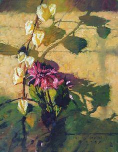 CMDudash - Available Paintings - StillLifes dahlias and japanese lanterns variation #2