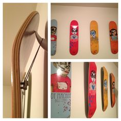 How to hang skateboards:  -measure and mark distance desired between boards -place large command hooks on marks (holds up to 5 lbs) -put nuts through top 2 holes and bolt loosely -place strong hair ties around bolts and hang from hook
